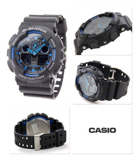 Relógio Casio G-shock Ga-100 1a2 Preto/azul Original C Caixa