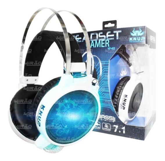 Fone De Ouvido Gamer 7.1 Com Fio Led Azul Branco - Kp-402