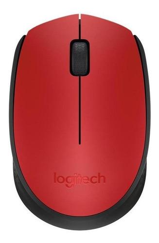 Mouse inalámbrico Logitech M170 rojo y negro