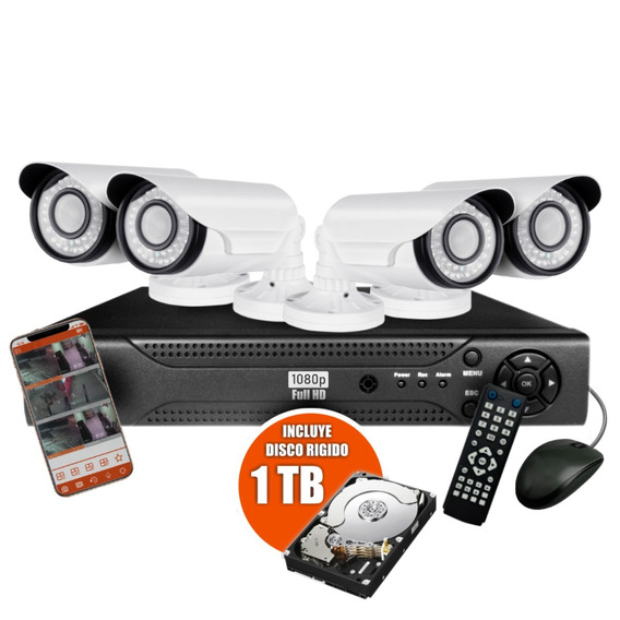 Kit 4 Camaras Seguridad Ip Dvr Full Hd Infrarroja Rigido 1tb