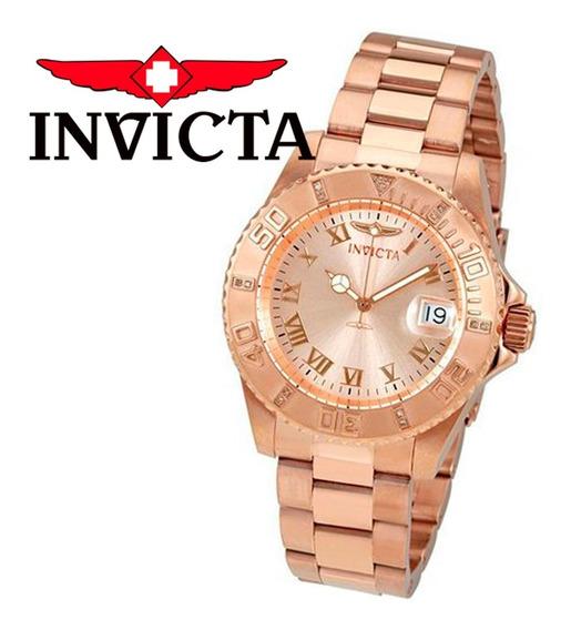 Relógio Invicta Feminino Pro Diver 12821 Banhado Ouro Rose Original Nota Fiscal Garantia Frete Grátis Promoção Joclock