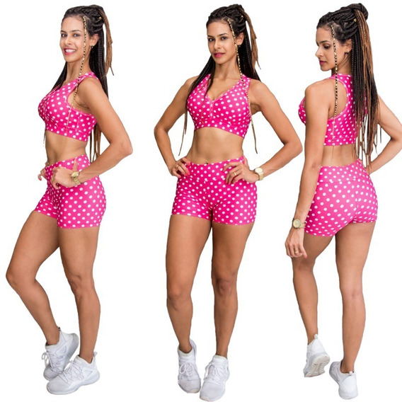 Shortinho Academia Feminino Short Poá Suplex Shorts Fitness