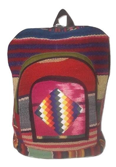 Mochila Tortuga Artesanal Telar Aguayo Puyo Whipala 50x34cm