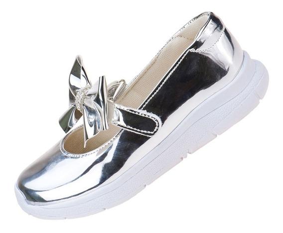 Tênis Infantil Feminino Social Estilo Sapatilha Com Laço Verniz Sapato Casual Escolar Moda Criança