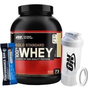 Whey Gold Standard 2.3kg + Multishaker - On + Barra Proteíca