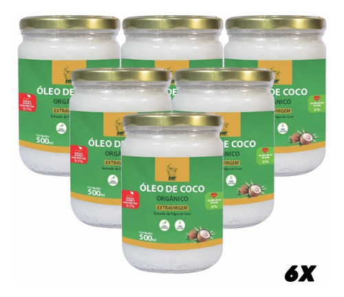 Imagem 1 de 6 de 6x Oleo De Coco Orgânico Extra Virgem Macrophytus 500ml Cada