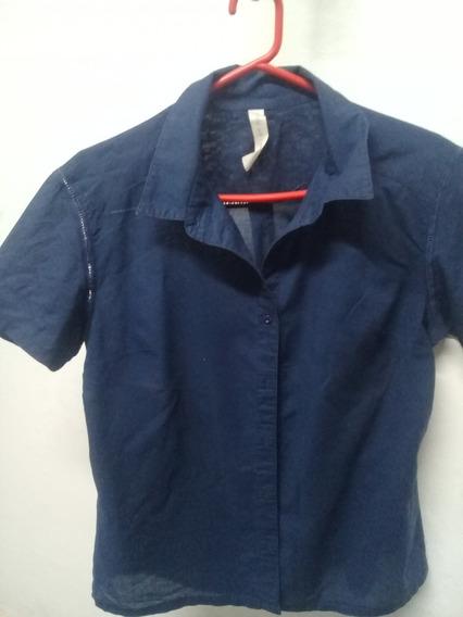Camisa Algodon Y Lino Azul T M Marca Try Me