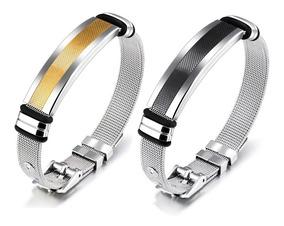 Pulseira Bracelete Masculina Aço 316l Prateada / Preto Malha