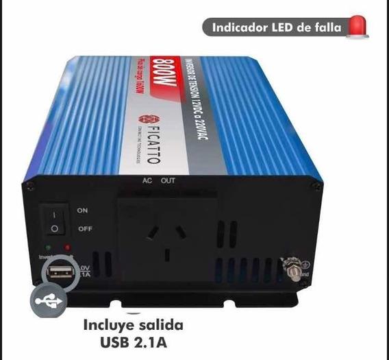 Inversor De Corriente Ficatto 800w. 12vdc A 220vac.