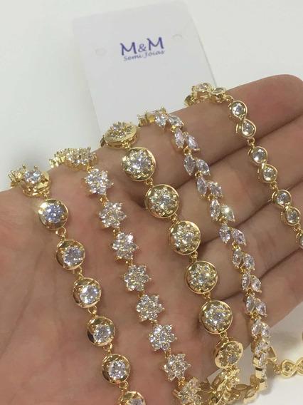 Pulseira Bracelete Zirconias 10pçs + 10 Anéis Ajustável