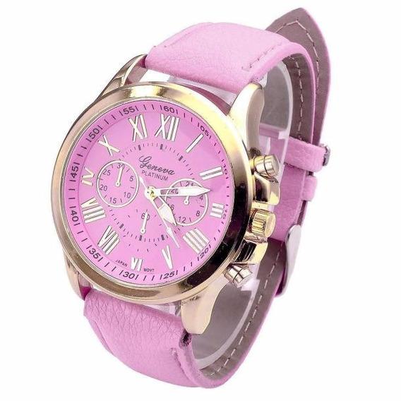 Relógio Dourado Feminino Pulseira Rosa Rg001f Promoção!!!