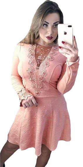 Vestido Feminino Curto Rodado Manga Longa Com Bojo Tule Moda