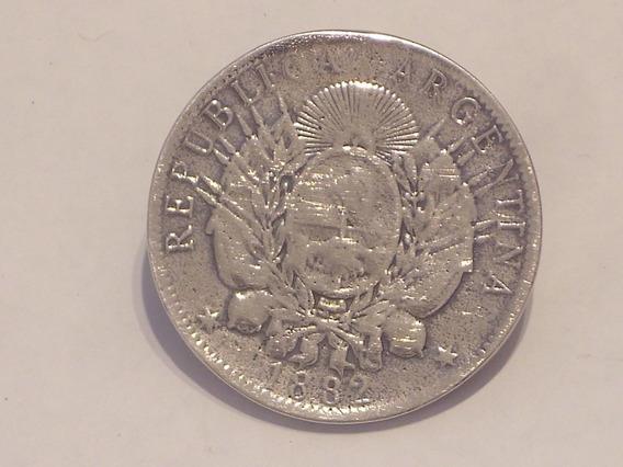 Antigua Moneda De Plata De 1 Peso Patacon Año 1882