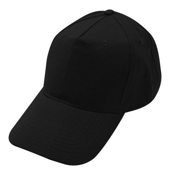 Gorras Sin Logo De 5 Gajos Con Abrojo Negra X20