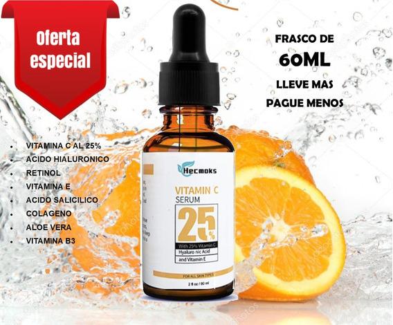 Serum Facial Vitamina C + Hialurónico. Suero Antiedad 60ml