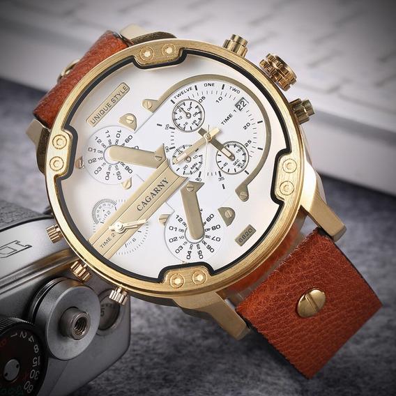 Relógio Masculino Cagarny Pulseira Couro Original