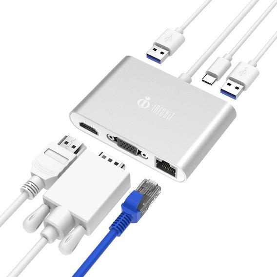 Adaptador Type-c Para Macbook 6 Em 1 Hdmi Vga Usb 3.0 E Rj45