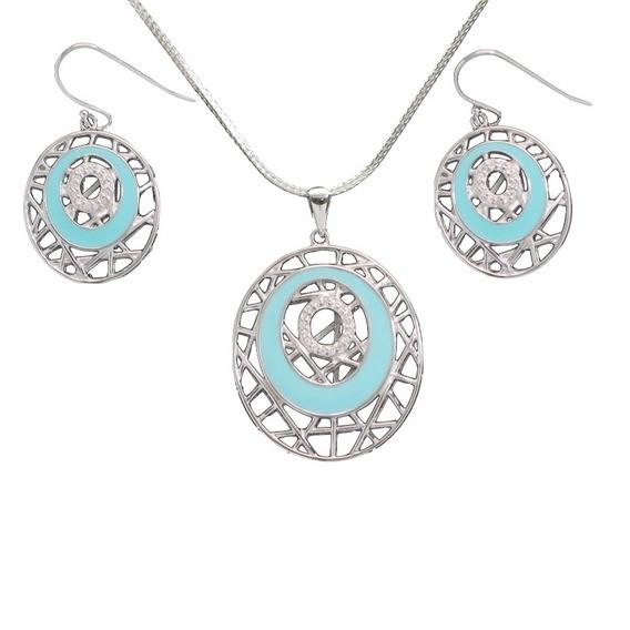 Colar Feminino E Brincos Conjunto De Prata 925 Teia Azul