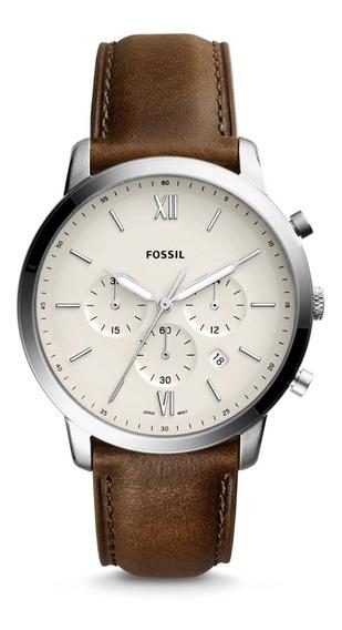 Reloj Caballero Fossil Fs5380 Color Café De Piel