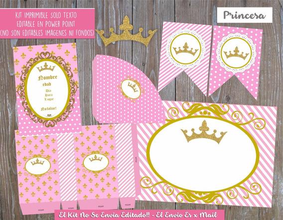 Kit Imprimible Princesa Corona Dorada Solo Textos Editables!