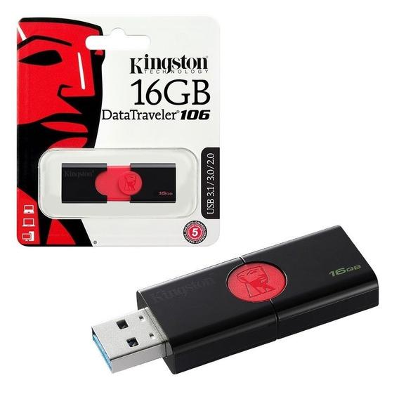 Pen Drive Kingston 16gb Usb3.1 Data Traveler Dt106/16gb Pt