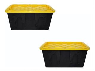 Kit 2 Caja Plástico Almacenamiento Profesional 45 Lt