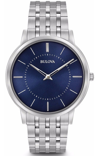 Relógio Bulova Masculino Slim 96a188 Azul Social Original
