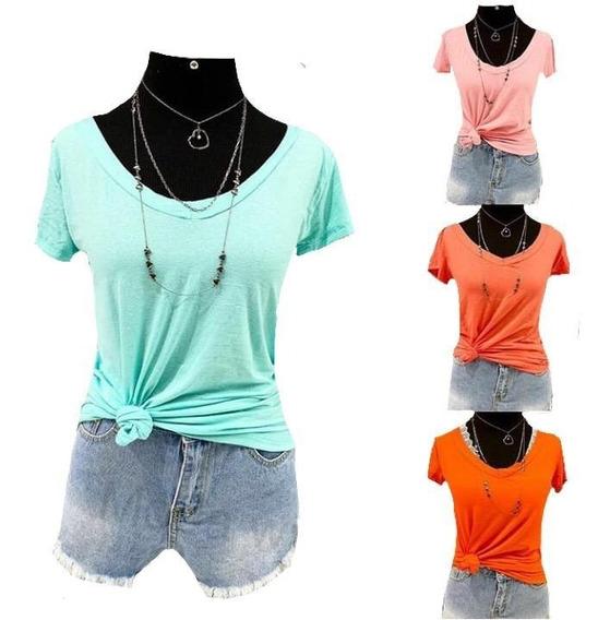Kit C/3 Blusa T Shrt Camiseta Decotada Feminina Podrinha
