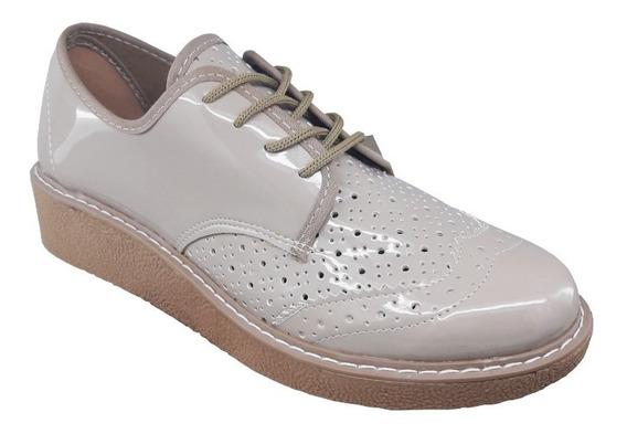 Zapato Acordonado De Charol Dulce Noelia Talles Del 35 Al 40