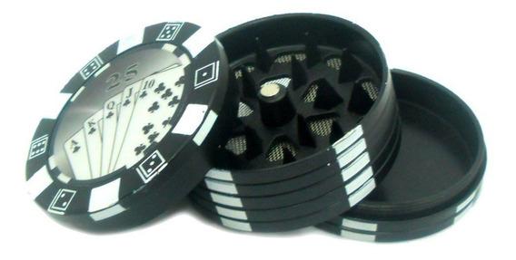 Dichavador Metal Com Imã E Compartimento Mod.pôquer Preto