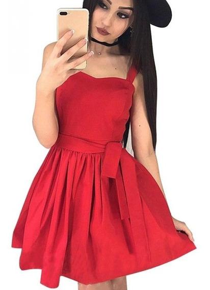 Vestido De Fiesta Corto Importado Rayon Cinto Tajo #14