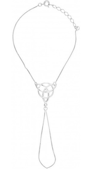 Pulseira Anel Triskle C/ Strass Prateada - Sh5651
