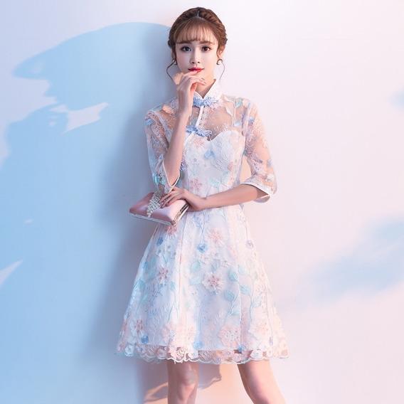 Vestido De Encaje Femenino Estilo Chino Estilo Cheongsam