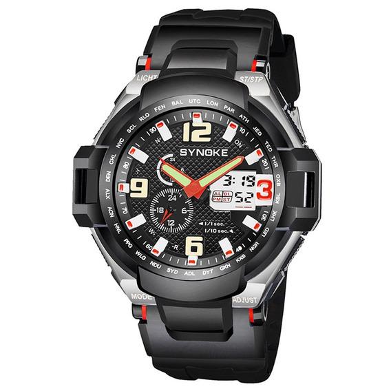 Synoke 67606 50m Sports Digital Relógio Para Homens Vermelho