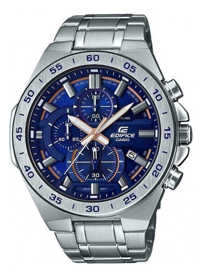 Relógio Casio Masculino Edifice Cronógrafo Prata Azul