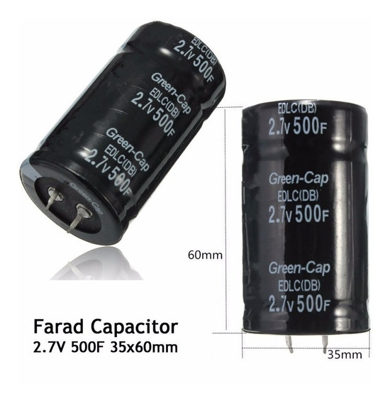 Super Capacitor 500f 2.7v - Green Cap Eletrolítico