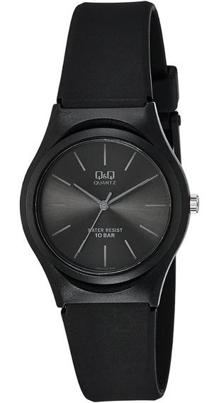 Relógio Feminino Q&q Preto Analógico Todo Em Silicone + Nf