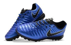 Chuteira Society Nike Tiempo Lunar Legend 7 Pro Azul Escuro: