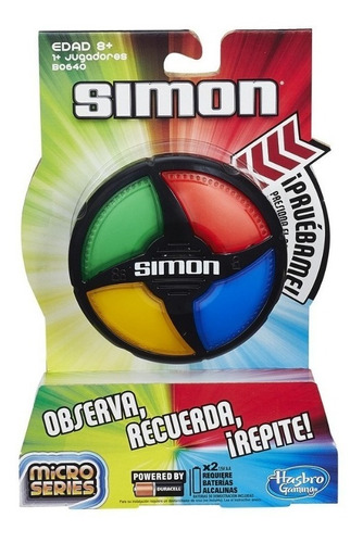 Imagen 1 de 6 de Simon Microseries B0640 Hasbro Observa Recuerda Repite Edu