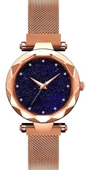 Relógio Feminino Céu Estrelado Rose Gold Pulseira Magnética