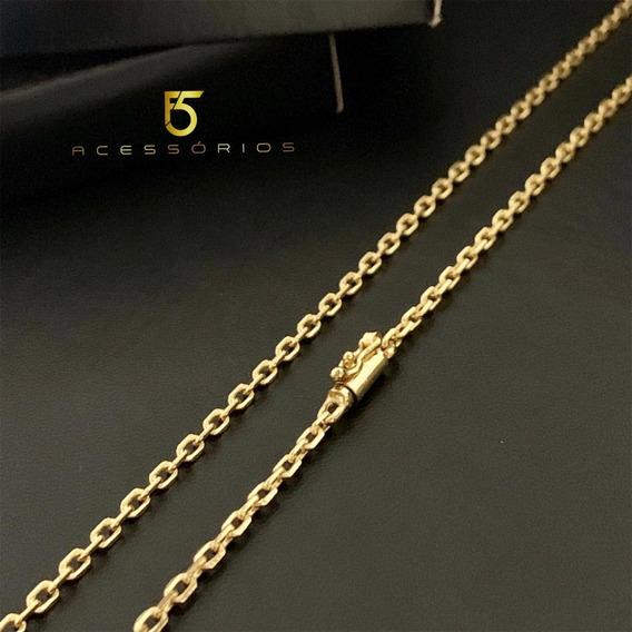 Correntinha Masculina Cadeado 3mm Fina Banhada A Ouro 18 K