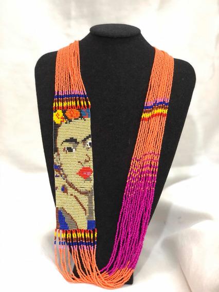 Collar Frida Kahlo Tejido En Chaquira O Mostacilla