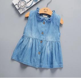 Lindo Vestido Jeans Para Bebês