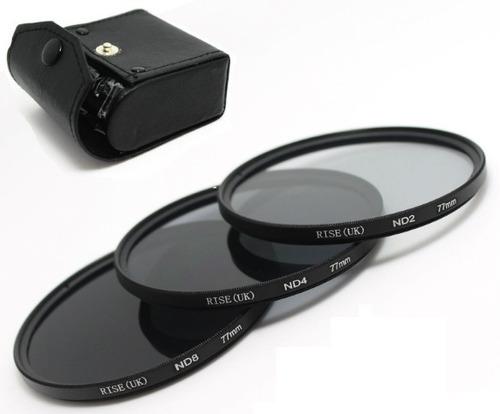 Imagem 1 de 8 de Kit 77mm Filtro Nd2 + Nd4 + Nd8 + Case Canon Nikon Sony