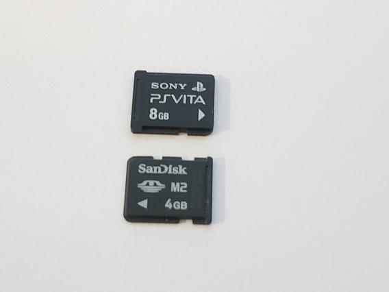 2 Cartões De Memória Ps Vita Originais 8gb + 4gb