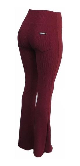 Calça Flare Cós Alto Texturizada Fashion Tecido Grosso