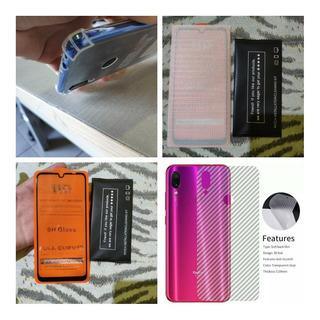 Capinha + Película + Fibra De Carbono Xiaomi Redmi Note 7