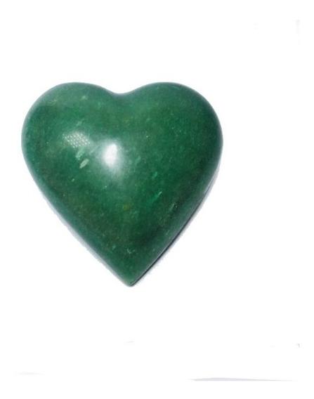 Cristal - Coração De Quartzo Verde Lapidado Pedra Natural!