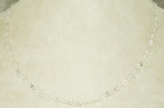 Conjunto Corrente Pulseira Coração 45 Cm (me2,7) Prata 950