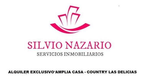 Alquiler Exclusiva Casa De 5 Dorm Dependencia De Servicio - Country Las Delicias
